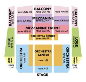 Seat map of Oxnard Performing Arts Center