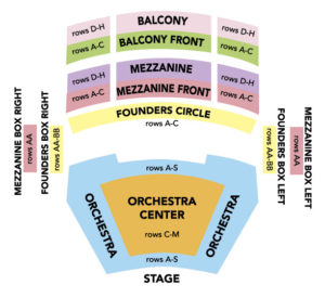 Seat map of Fred Kavli Theater
