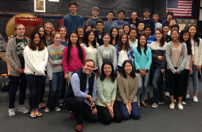 Teenagers and young adults with New West Symphony conductor