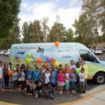 Children standing in front of New West Symphony Music Van