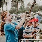 Girl playing trumpet