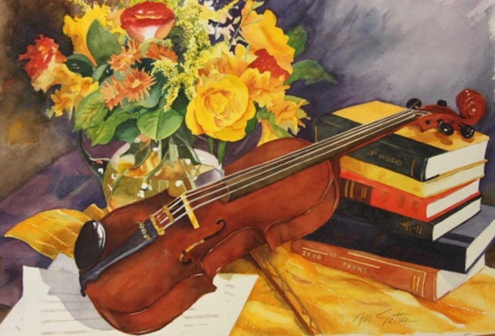 Painting of violin sitting on stack of books next to a vase of flowers.
